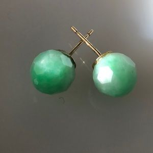 Jade with gold stem earrings